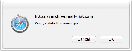 Click OK to confirm that you want this message deleted.