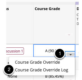 Select the down arrow and then choose course grade override log
