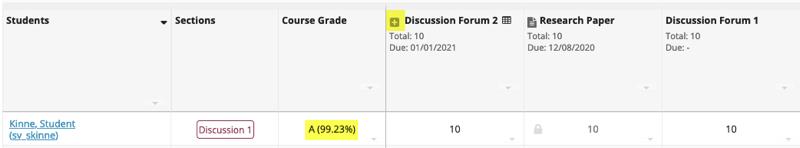 EC item in a Gradebook without categories