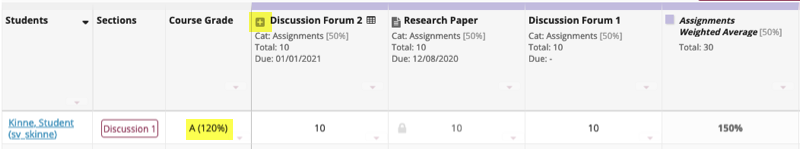 EC item in a Gradebook with weighted categories