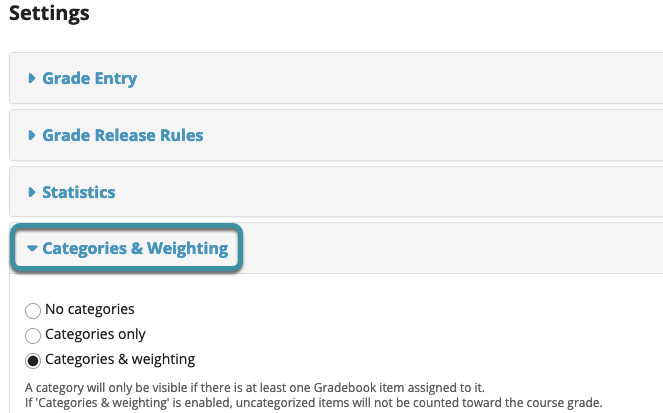 Select categories & weighting