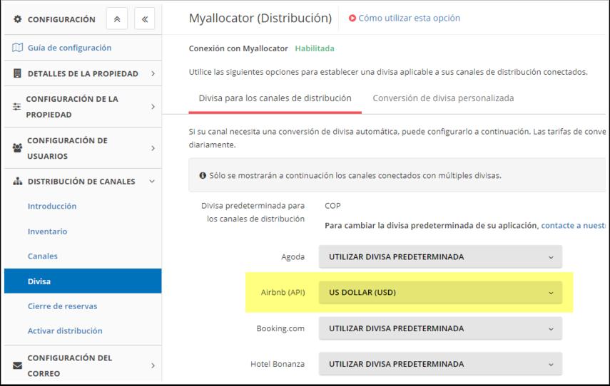 DEMO - El Bolsón - Configuración - Myallocator (Distribución) - Divisa - Google Chrome