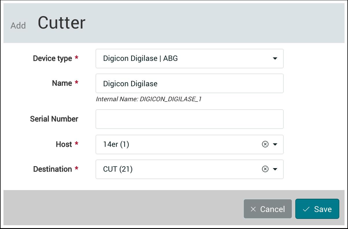 PMS WebGui :: Cutter Devices