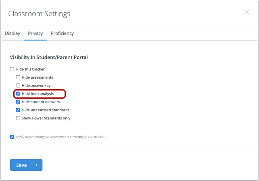 Change and save Privacy Settings
