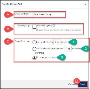 Group Set Settings allow instructors create pre-set or self-join groups where the instructor manually creates groups or has Canvas automatically generate groups.