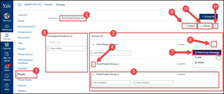 Group view page shows your Group Sets, Groups, settings, and enrollments.
