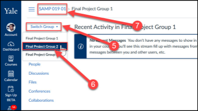 When viewing a group site, use the Switch Group menu to move between group sites or click the course link in the breadcrumb menu to go back to the main course.