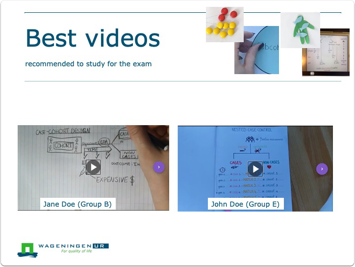 Figure 3: We highlighted the best peer instruction video's and recommended students to study these for the exam.
