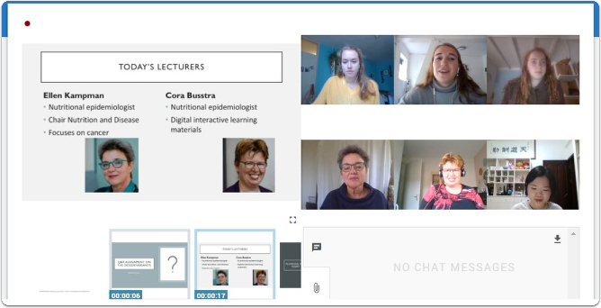 Figure 4: Giving students responsibility for their learning: four students introduce the two lecturers and facilitate the chat in Virtual Classroom. ​​​​