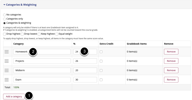 Enter categories and percentage weighting