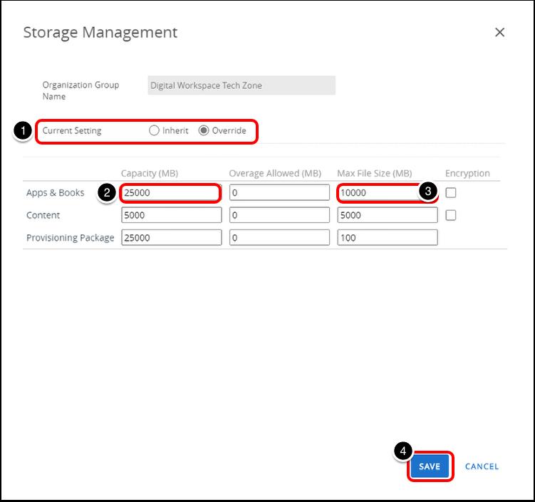Increasing Default Storage Size for Workspace ONE UEM On-Prem