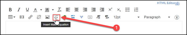 The Math Editor button is located on the rich content editor tool bar.