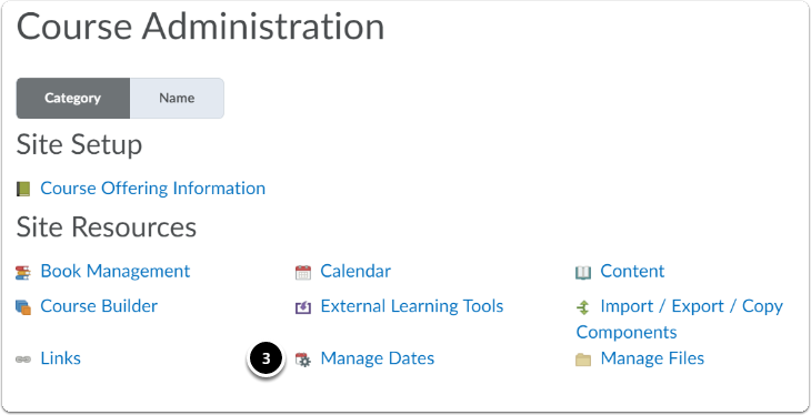 click manage dates in the course administration page