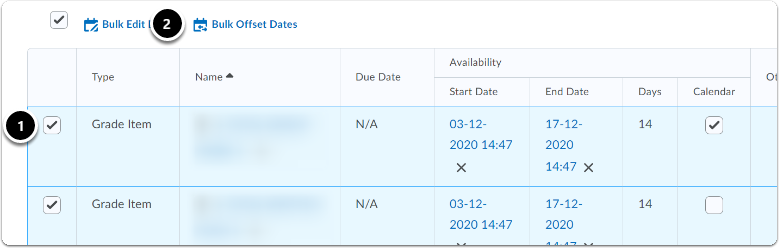select the items which dates you want to modify; click Bulk offset dates