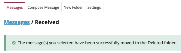 A confirmation message will display
