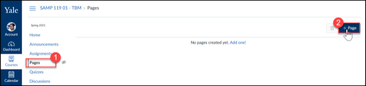Click on the Pages button an create a new page