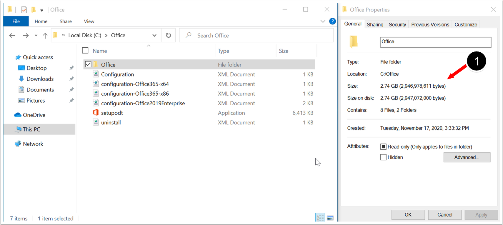 Office Offline File Size