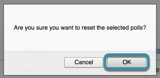 Select OK to confirm the reset