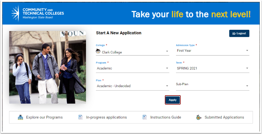 Start a New Application page