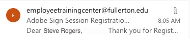 Email of Registration Confirmation
