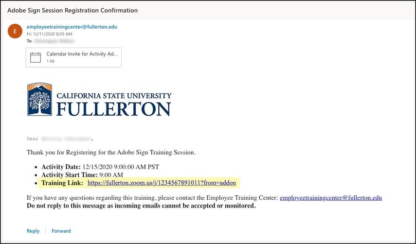 Registration Confirmation email