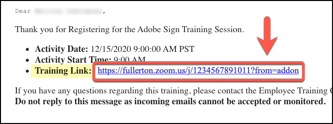 Arrow pointing to Training Link