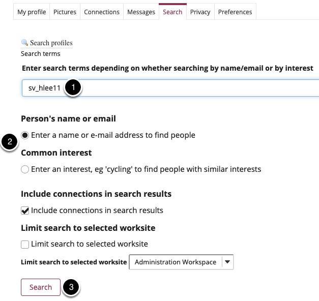 Enter search criteria, specify if you are searching for a user or a common interest, and select search