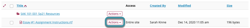 Select Actions next to the item you would like to link to