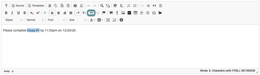 Select Link icon from Rich Text Editor