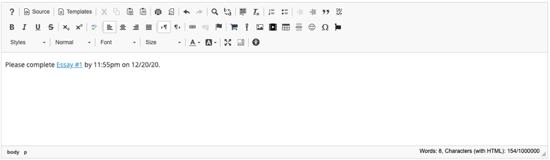Link will display in the Rich Text Editor