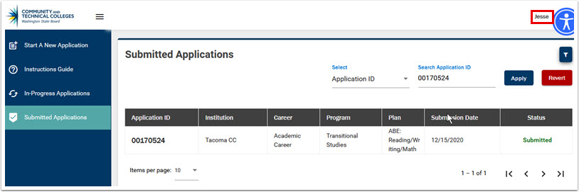 Submitted Applications page