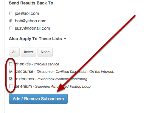 Click on the blue button to apply your changes to all lists selected.