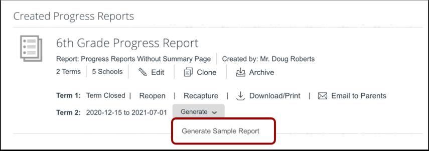 Generate Sample Report