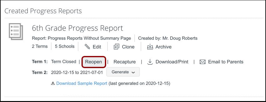Reopen Progress Report