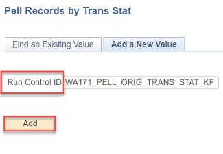 Pell Orig Trans Status Report Search Criteria page
