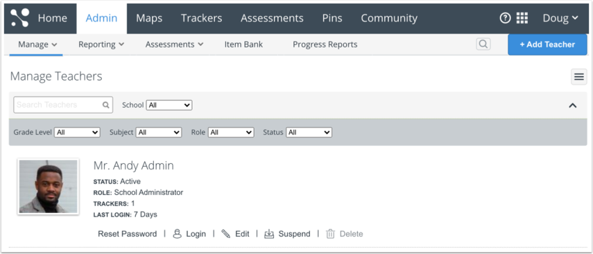 Open Manage Teachers Page