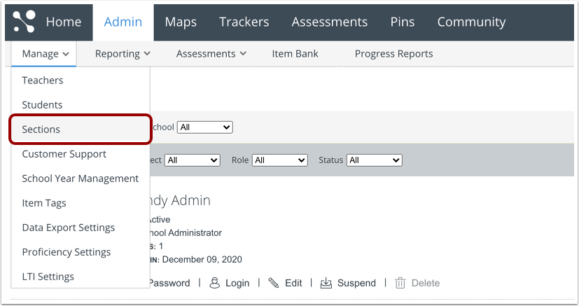 Open Manage Sections Page
