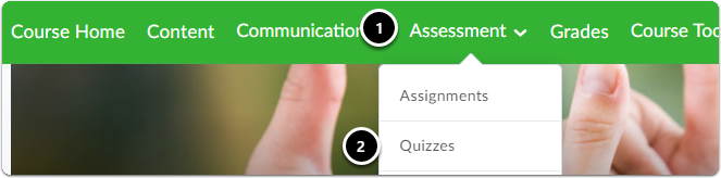 navigate to assessment and quizzes in the navigation bar