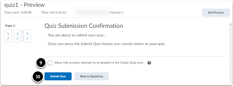 quiz submission confirmation screen