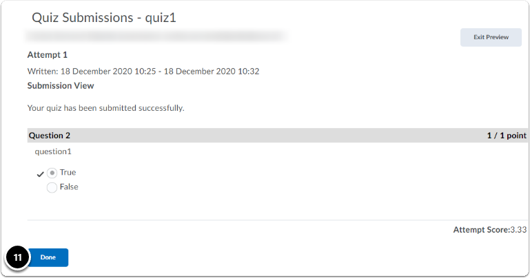 quiz submission view