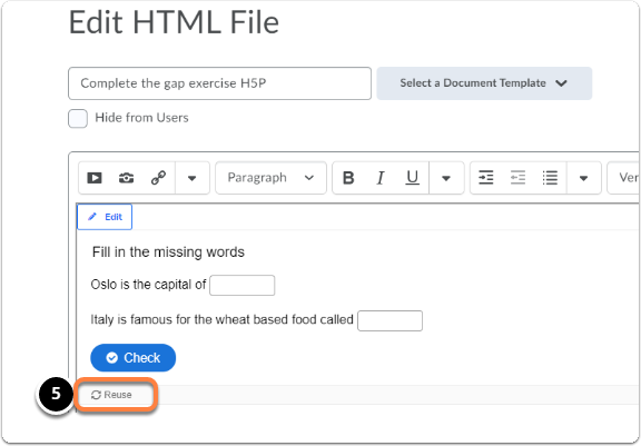 Click Reuse in your H5P content item editing page