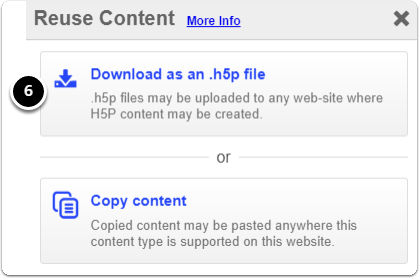 Click download as an .h5p file to download your file