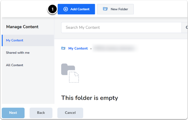 in the new folder, click add content