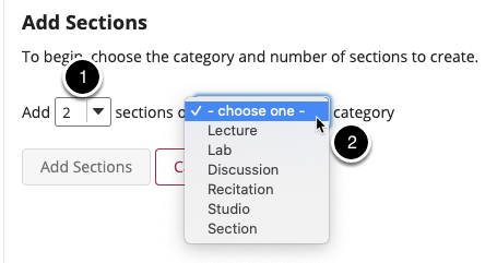 Choose the number of sections and a category