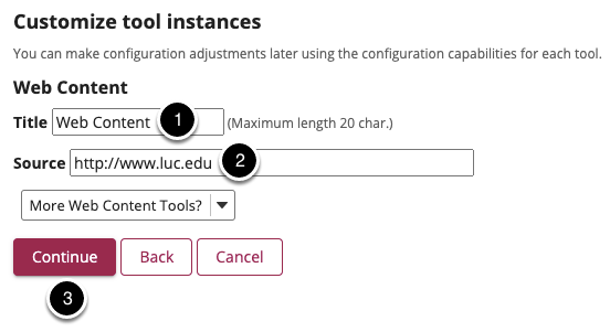 Customize the tool instance and select Continue