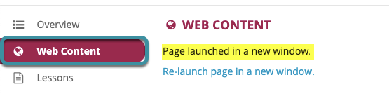 View the new Web Content link by selecting the Web Content tool
