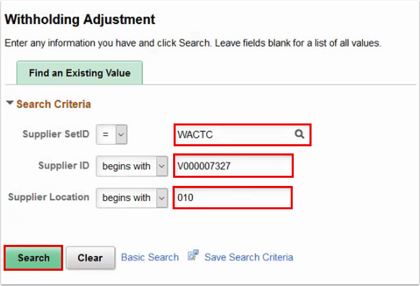 Withholding Ajustment search page