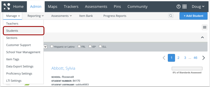 Open Manage Students Page
