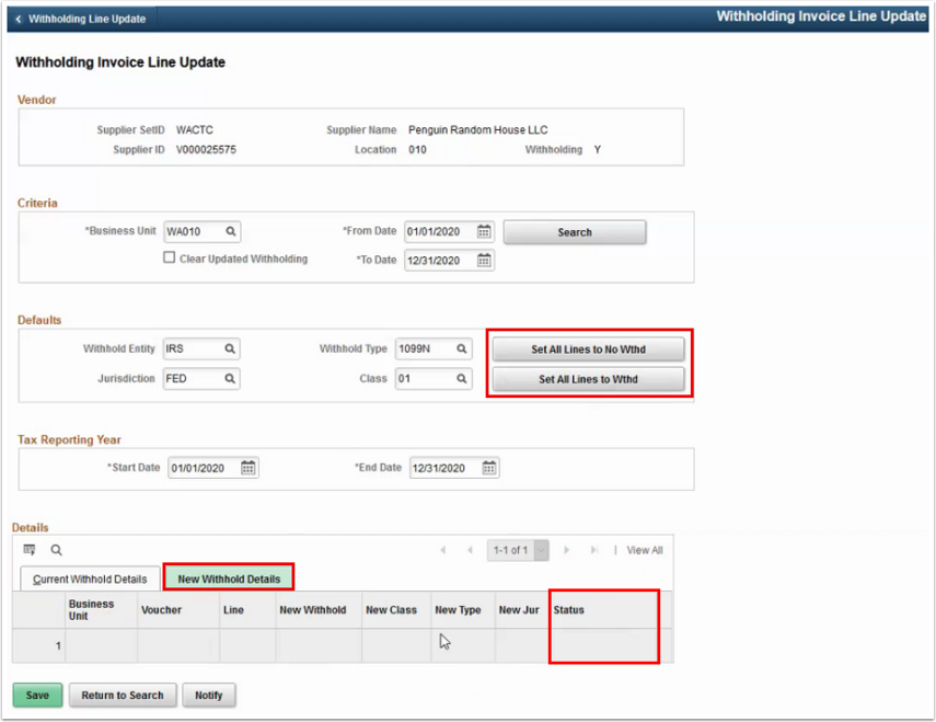 Withholding Invoice Line Update page