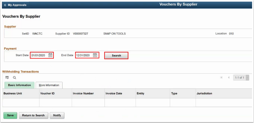 Vouchers by Supplier page